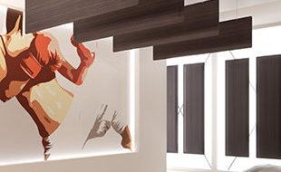Panneaux suspendus réglables BAFFLE fintion bois | DP Acoustique