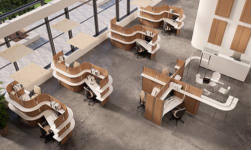 Espace de travail insonorisé avec des cabines acoustiques SCREEN Dp acoustique sur mesure