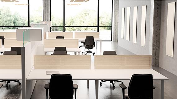 Panneaux acoustiques Desk System installés dans des bureaux | Dp-Acoustique