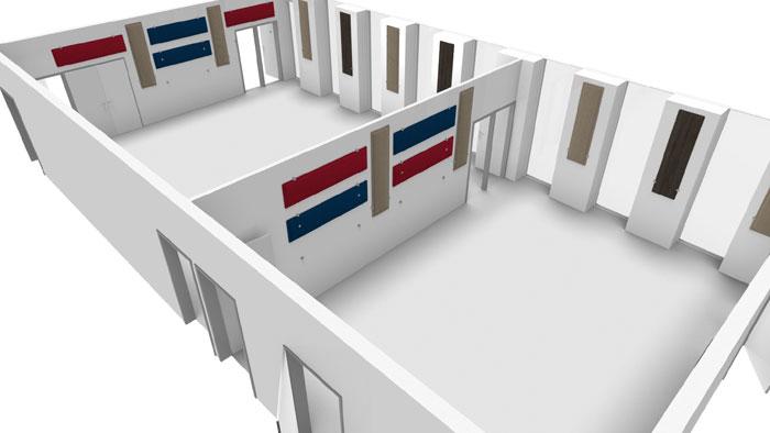 Plan 3D pour définir l'emplacement des panneaux acoustiques DP-Acoustique dans des locaux