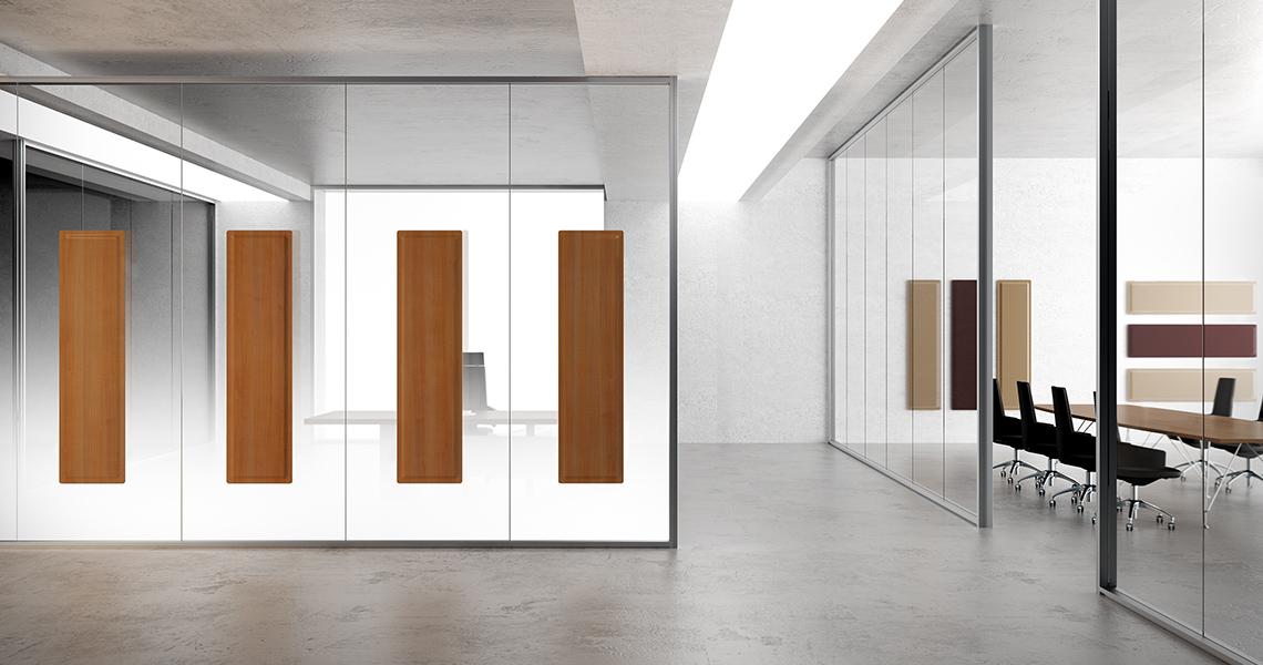 Panneaux acoustiques Glass sur parois vitrées dans espace de travail partagé DP Acoustique