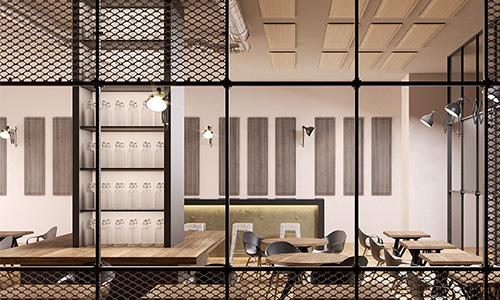 Panneau acoustique Wall pour restaurant. Pose vertical fixé sur mur.