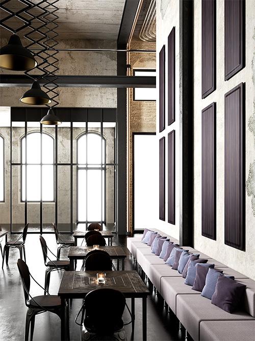 Panneaux Wall en bois posés à la verticale. Usage bar, restaurant
