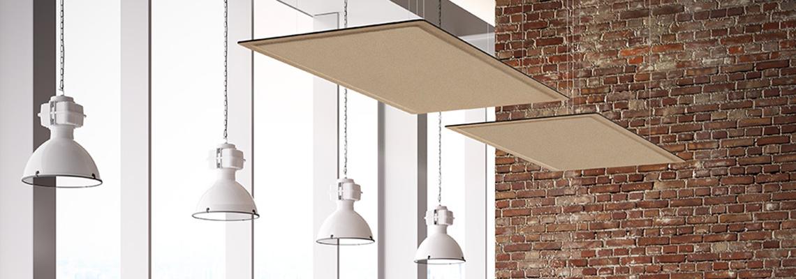 Panneau acoustique à susprendre pour plafond en bois. Ecran Roof DP Acoustique
