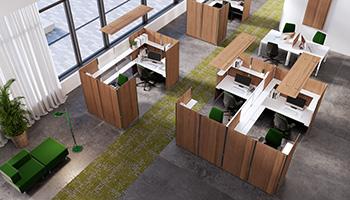 Open Space avec séparation de bureaux aménagés