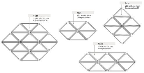 Schéma de montage pour plafond Sky System avec panneau acoustique modulaire