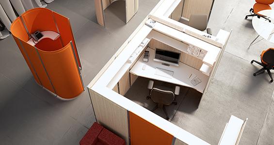 Espace de coworking personnalisé avec les panneaux acoustiques TreScreen | Touch Down