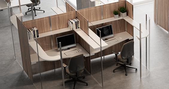 Bureau individuel insonorisé en open space avec des Panneaux acoustiques TreScreen | DP acoustique